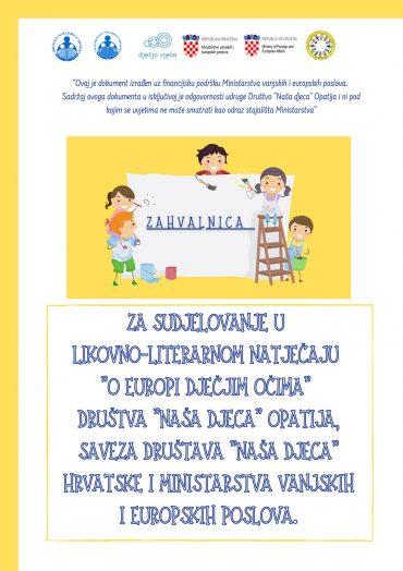 """Dječji vrtić""""Potočnica""""dobio zahvalnicu za sudjelovanje u likovno literarnom natječaju""""O Europi dječjim očima"""""""